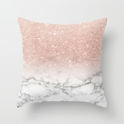 modern-faux-rose-pink-glitter-ombre-white-marble-pillows