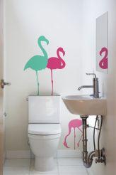 decoração-banheiro-com-adesivos-flamingos
